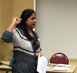 Shagufta Shah of the Family Justice Court Queens, NYC translated the information into Hindi to our members