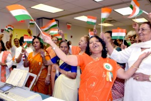 Seniors wave the India tricolor flag in celebration