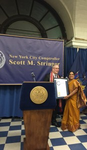 Dr. Vasundhara Kalasapudi, our Executive Director receives the commendation for services to NYC from Comptroller Scott Stringer