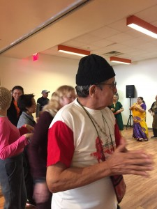 India Home's seniors taught their non-Indian friends to dance the garba, a Gujarati folk dance