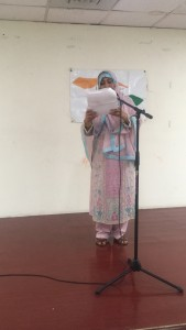 Quamrun Nahar reads her piece at the Culminating Event on May 19, 2017