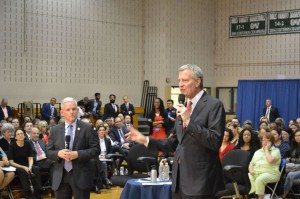 Mayor de Blasio, right, and Councilman Jimmy Van Bramer answer some questions during a town hall in Sunnyside, Queens. Photo by Anthony Riley