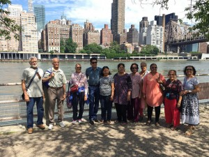 Our active seniors walked many over the riverside paths at Roosevelt island